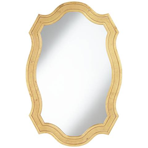 """Alain Gold Matted Distressed 30"""" x 45"""" Wall Mirror"""