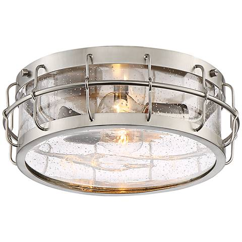 "Aya 13 1/4"" Wide Metal Cage and Glass 2-Light Ceiling Light"