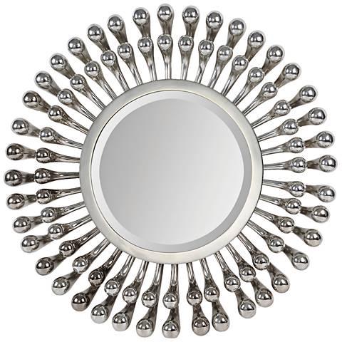 "Evana Silver 27 1/2"" Round Wall Mirror"