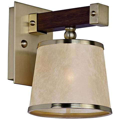 "Maritime 9 1/2""H Antique Pecan and Satin Brass Wall Sconce"