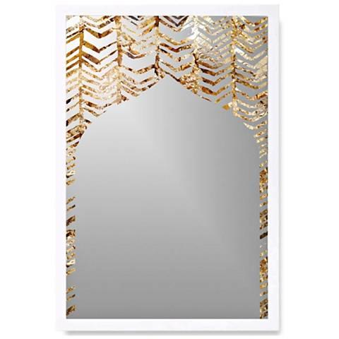"Gold Love White Wood 22"" x 32"" Wall Mirror Art"