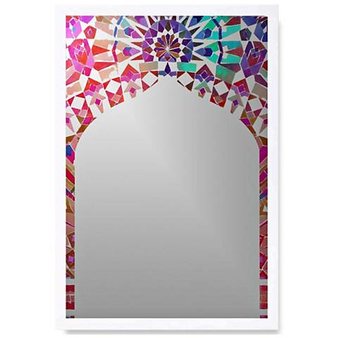 "Dounia Mosaiq White Wood 18"" x 26"" Wall Mirror Art"