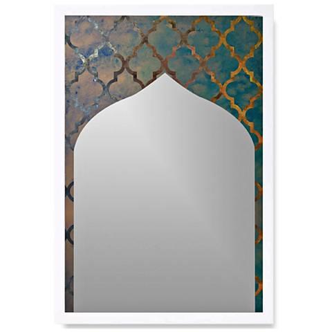 "Arabesque White Wood 22"" x 32"" Wall Mirror Art"