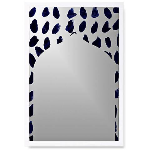 "Marismas White Wood 18"" x 26"" Wall Mirror Art"