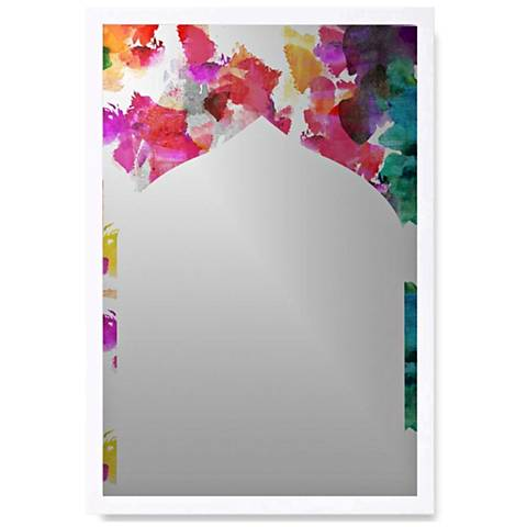 """Floral Inks White Wood 22"""" x 32"""" Wall Mirror Art"""
