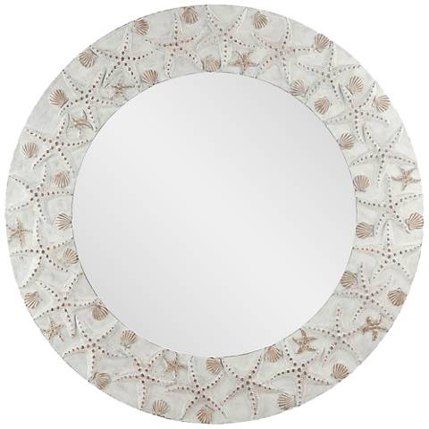 "Starfish Washed Antique 30"" Round Wall Mirror"