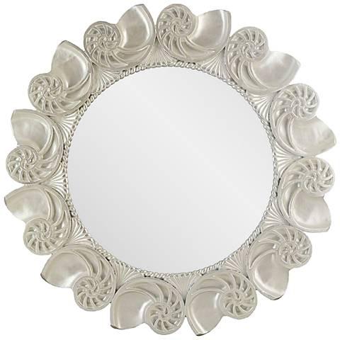 """Nautilus Shell Antique Pearl White 30"""" Round Wall Mirror"""
