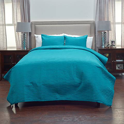 Parker Teal Fabric Quilt Set