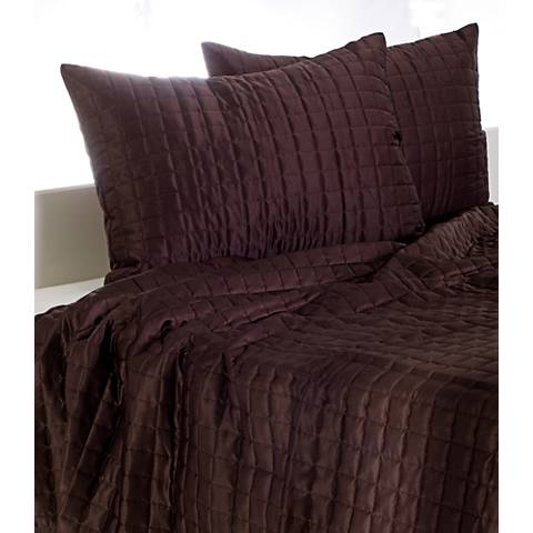 Satinology Brown Fabric Twin Quilt Set