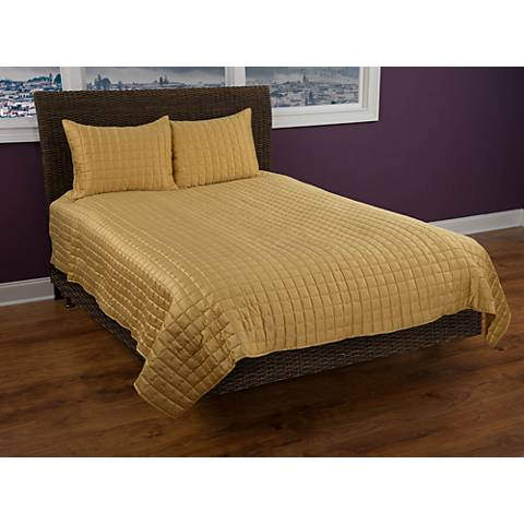 Satinology Gold Fabric Quilt Set
