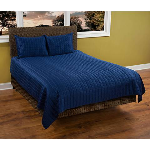 Satinology Navy Blue Quilt Set