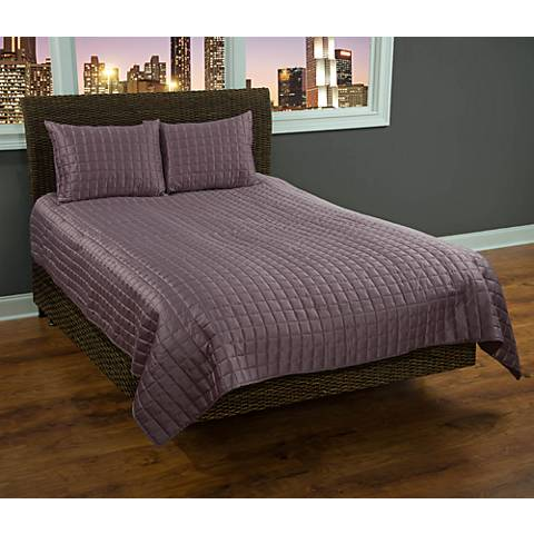 Satinology Orchid Purple Fabric Quilt Set