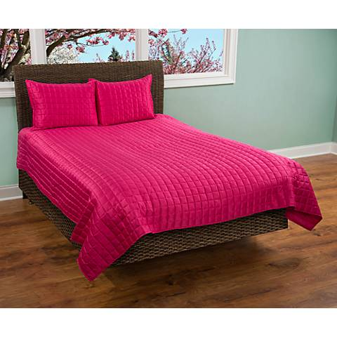 Satinology Pink Fabric Quilt Set