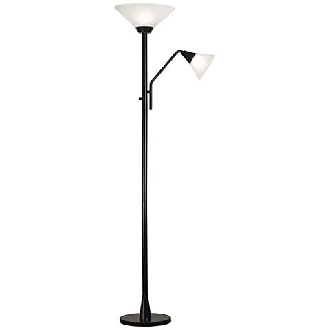 Kenroy Home Rush Bronze Torchiere Floor Lamp w/ Reading Arm