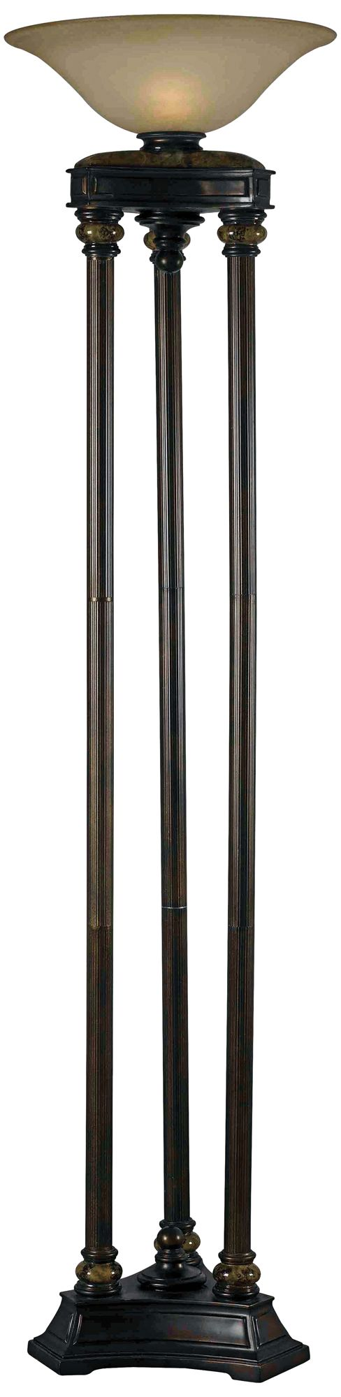kenroy home colossus bronze 3pole torchiere floor lamp - Pole Lamps