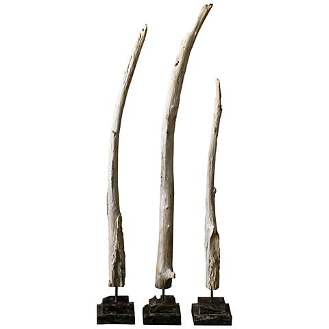 Teak Branches White and Gray 3-Piece Wood Sculpture Set