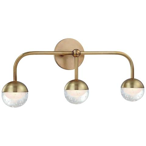 "Hudson Valley Boca 20 3/4"" Wide Aged Brass 3-LED Bath Light"
