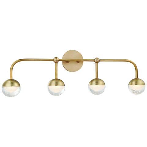 "Hudson Valley Boca 29 1/2"" Wide Aged Brass 4-LED Bath Light"