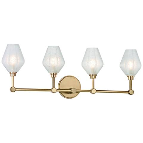 "Hudson Valley Orin 28 1/2"" Wide Aged Brass 4-LED Bath Light"