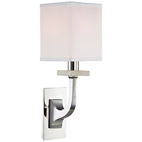 """Hudson Valley Rockwell 12 3/4""""H Polished Nickel Wall Sconce"""