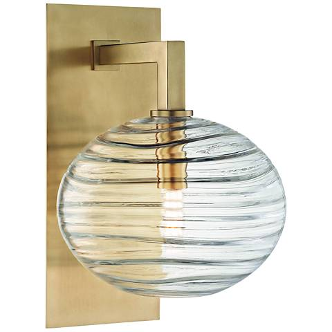 "Hudson Valley Breton 12 3/4"" High Aged Brass LED Wall Sconce"