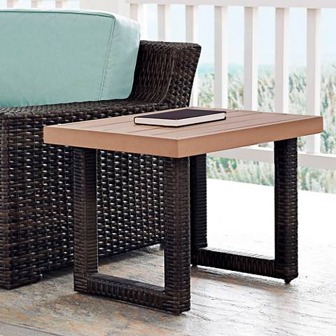 Beaufort Faux Wood and Dark Brown Wicker Outdoor Side Table