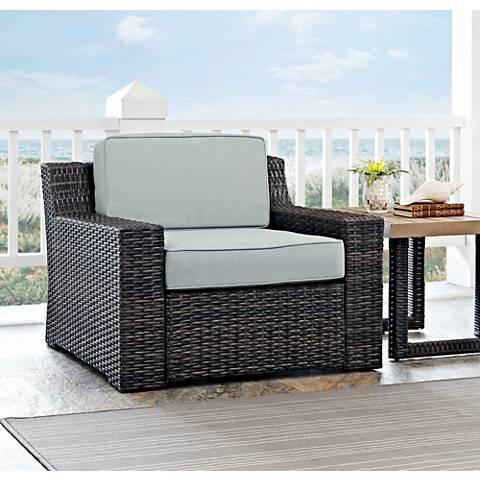 Beaufort Mist Light Blue and Brown Wicker Outdoor Armchair