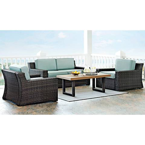 Beaufort Blue and Brown Wicker 4-Piece Outdoor Seating Set