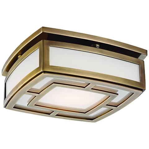 "Hudson Valley Elmore 9 1/2""W Aged Brass LED Ceiling Light"