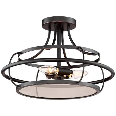 """Crawford 16"""" Wide Oil Rubbed Bronze Outdoor Ceiling Light"""