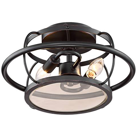 """Crawford 12"""" Wide Oil Rubbed Bronze Outdoor Ceiling Light"""