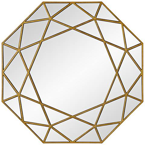 "Deloro Brushed Gold Veneer 40"" x 40"" Oversize Octagon Wall Mirror"