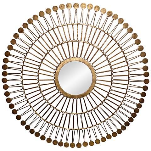 "Solara Gold Foil 30"" Round Wall Mirror"