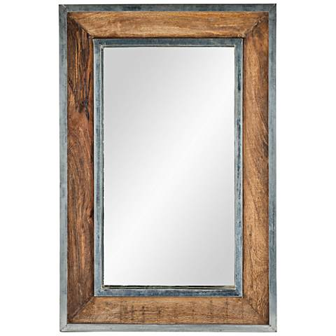 "Lemonade Natural Wood and Silver 24"" x 36"" Wall Mirror"