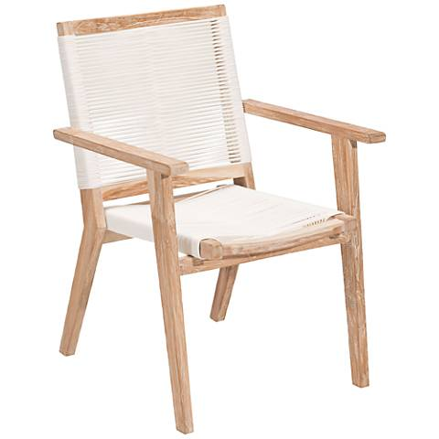 Zuo West Port White Wash Wood and White Dining Chair