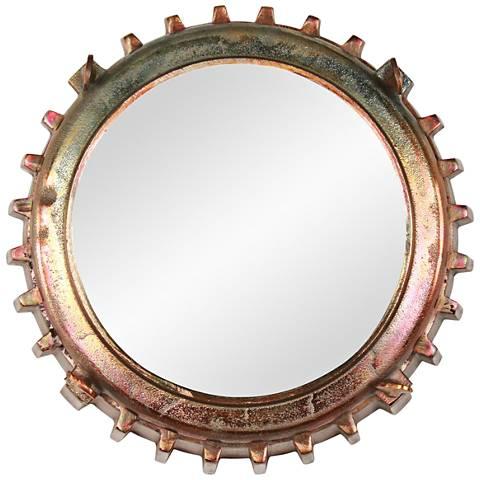 "Neston I Copper and Vintage Brass 13"" Round Wall Mirror"