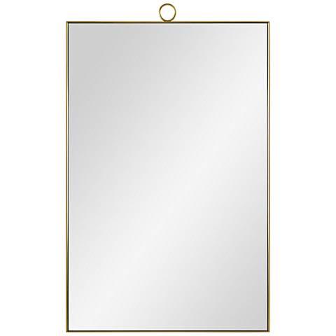 "Vertice Brass Metal 24"" x 38"" Wall Mirror"