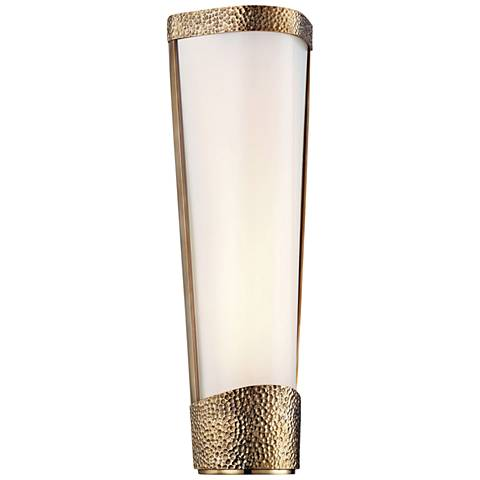 """Hudson Valley Park Slope 16"""" High Aged Brass LED Wall Sconce"""