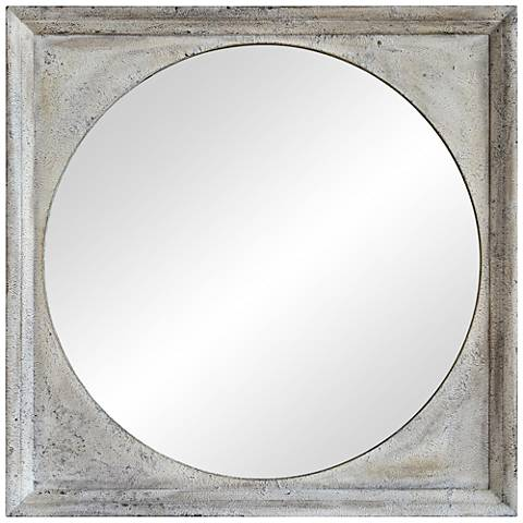 "Mock Textured Off-White Plaster 30"" Square Wall Mirror"