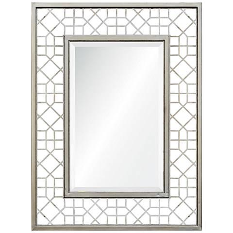 """Syen Silver Leaf Metal 30"""" x 40"""" Wall Mirror"""