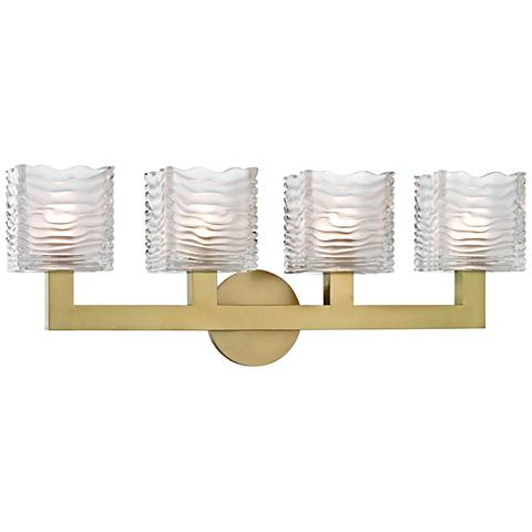 "Hudson Valley Sagamore 24"" Wide Aged Brass 4-LED Bath Light"