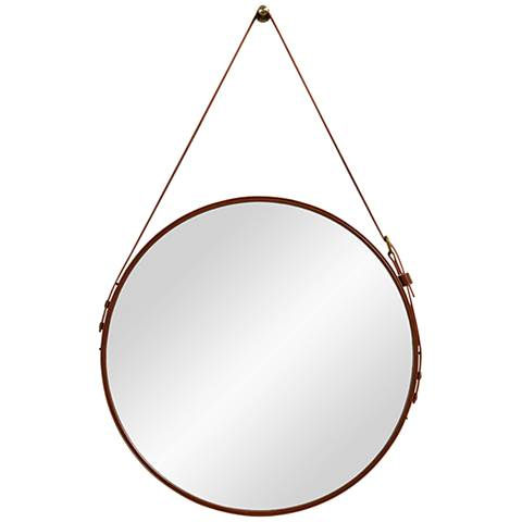 "Dormer Brown Faux Leather 20 1/2"" x 33"" Wall Mirror"
