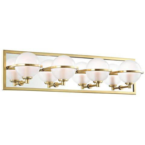"Hudson Valley Axiom 24"" Wide Aged Brass 4-LED Bath Light"