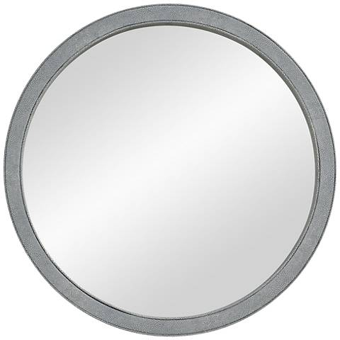 """Volute Light Gray Faux Leather 24"""" Round Wall Mirror"""
