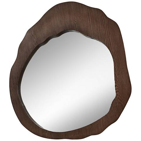 """Cluster Brown Wood Stained 32"""" x 36"""" Wall Mirror"""