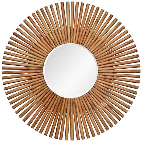 """Archer Natural Wood 40"""" Oversized Round Wall Mirror"""