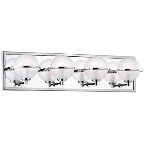 """Hudson Valley Axiom 24""""W Polished Nickel 4-LED Bath Light"""