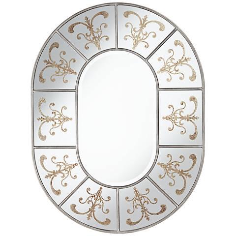 "Zarah Gold Filigree Etched 30"" x 40"" Wall Mirror"