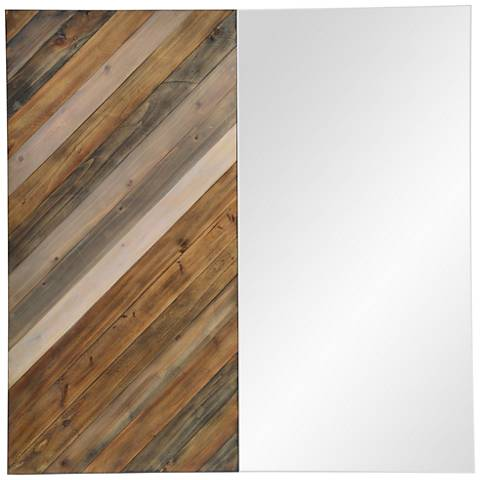 "Diptych Natural Wood 40"" Oversized Square Wall Mirror"