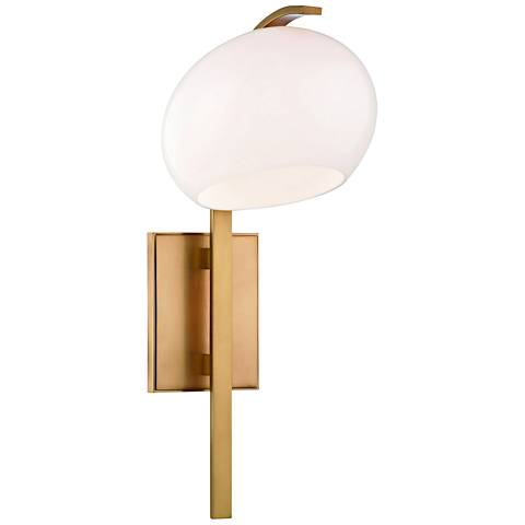 """Hudson Valley Perrault 18"""" High Aged Brass Wall Sconce"""